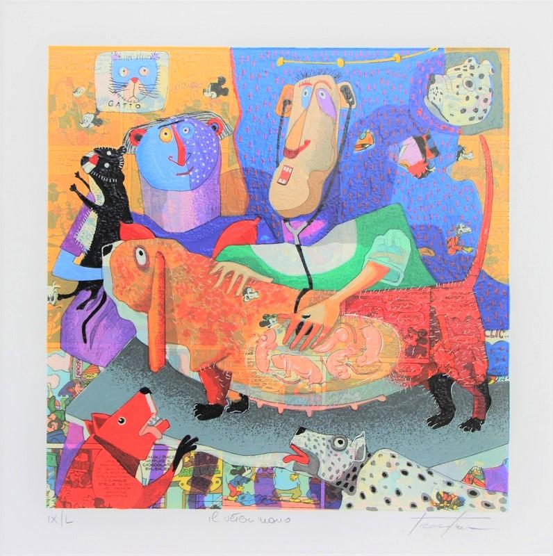 """""""Il veterinario"""" serigrafia polimaterica cm. 33x33"""