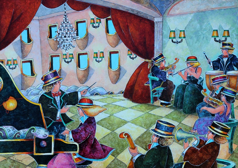 """""""Il violino distratto"""" dipinto su tavola cm. 50x70"""