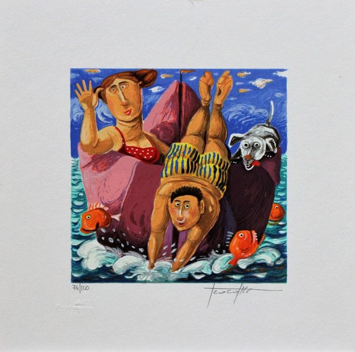 """""""In alto mare"""" serigrafia polimaterica cm. 25x25"""