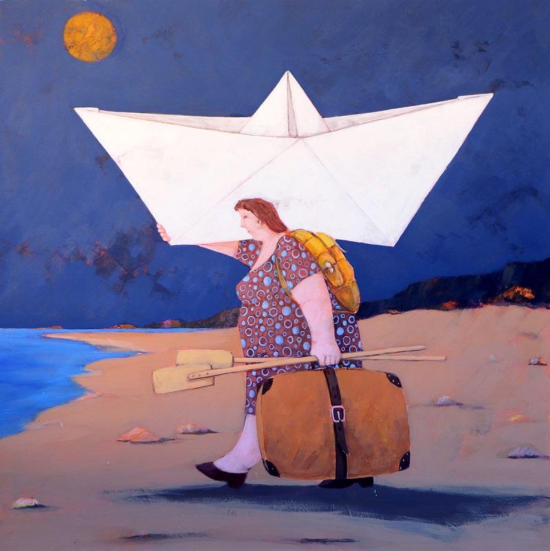 """""""In una notte di luna piena"""" dipinto su tela cm. 60x60"""
