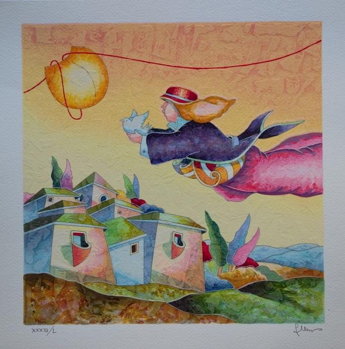 """""""In volo con una colomba"""" serigrafia polimaterica cm. 35x35"""