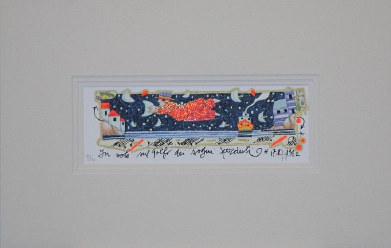 """""""In volo sul golfo dei sogni perduti"""" serigrafia polimaterica con interventi in glitter cm. 24x9"""