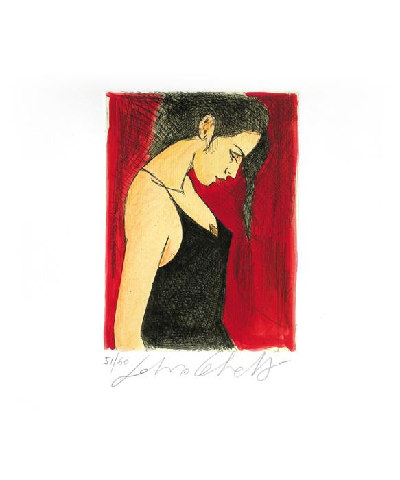 """""""Ancora una rosa"""" incisione colorata a mano cm. 44x32,7"""