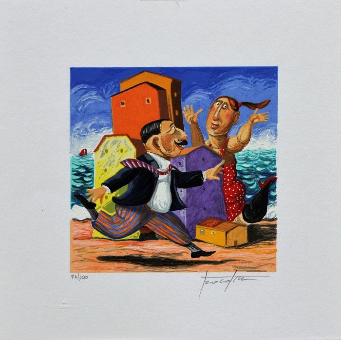 """""""Intorno alla città"""" serigrafia polimaterica cm. 25x25"""
