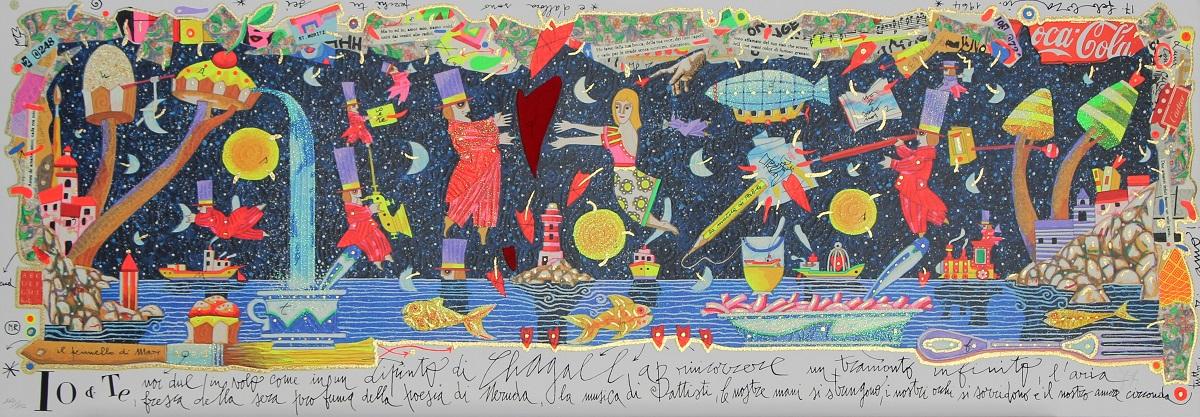 """""""Io e te, noi due in volo"""" serigrafia polimaterica con glitter cm. 35x100"""