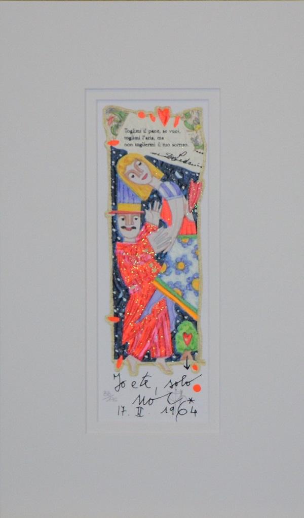 """""""Io e te, solo noi"""" serigrafia polimaterica con interventi in glitter cm.25x9"""