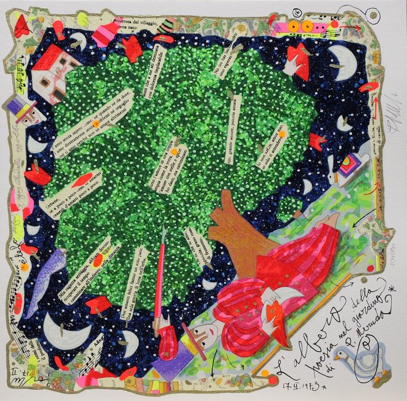 """""""L' albero della poesia"""" serigrafia polimaterica cm. 35x35"""