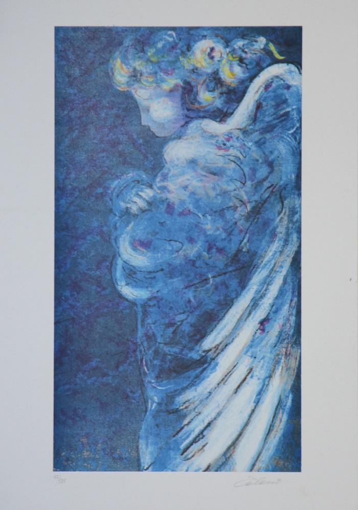 """L' angelo blu"" litografia cm. 50x35"