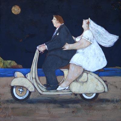 """""""La sposa del vespista"""" disponibili nei formati 10x10  18x18   30x30  50x50"""