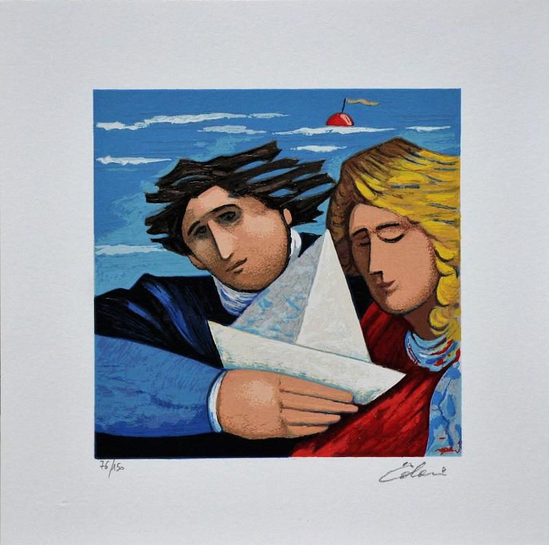 """""""La barca del viaggio"""" serigrafia polimaterica cm. 30x30"""