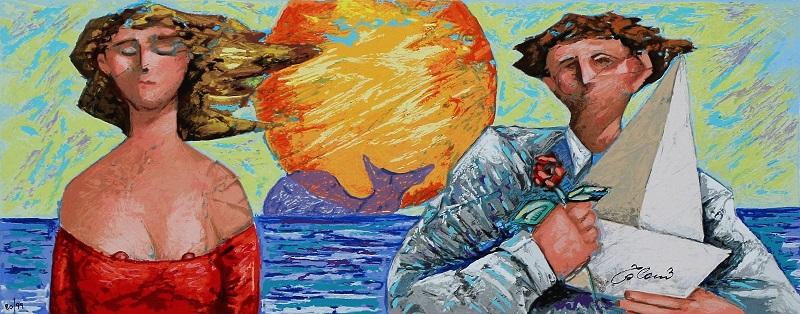 """""""La barca e la rosa"""" serigrafia polimaterica su cartoncino cm. 20x50"""