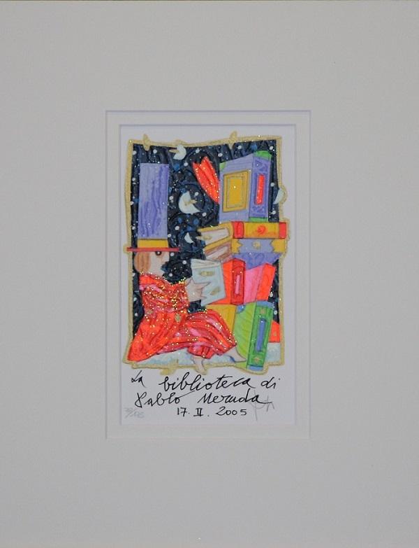 """""""La biblioteca di Pablo Neruda"""" serigrafia polimaterica con interventi in glitter  cm.18x11"""
