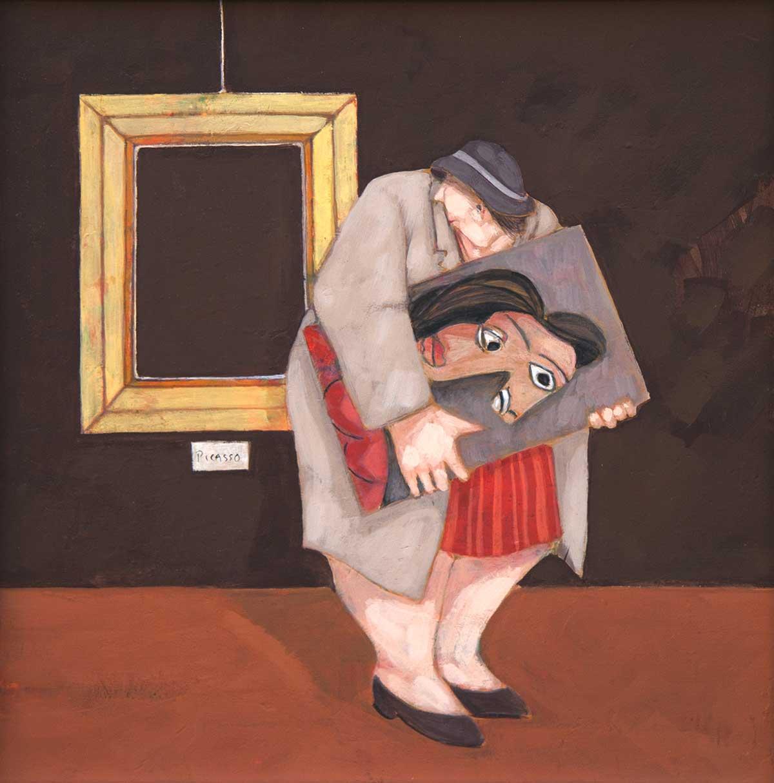 """La collezionista"" dipinto su tela cm. 30x30"