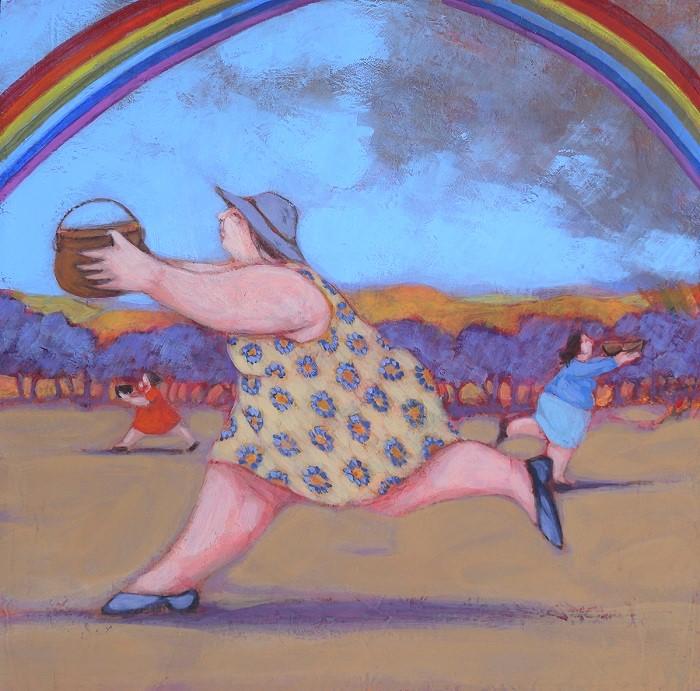 """""""La corsa all'oro"""" dipinto su tavola cm. 20x20"""