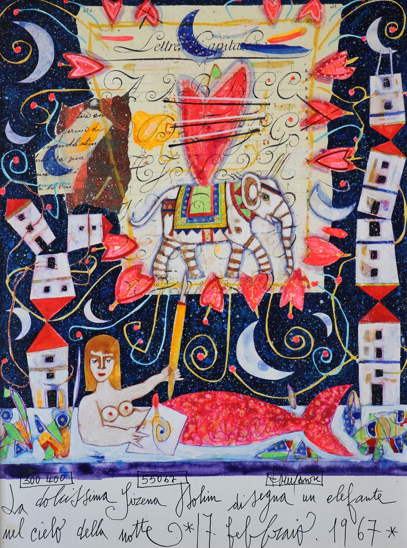 La dolcissima sirena Dolin dipinto su tavola cm. 30x40