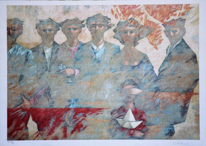 """""""La famiglia"""" litografia cm. 50x71"""