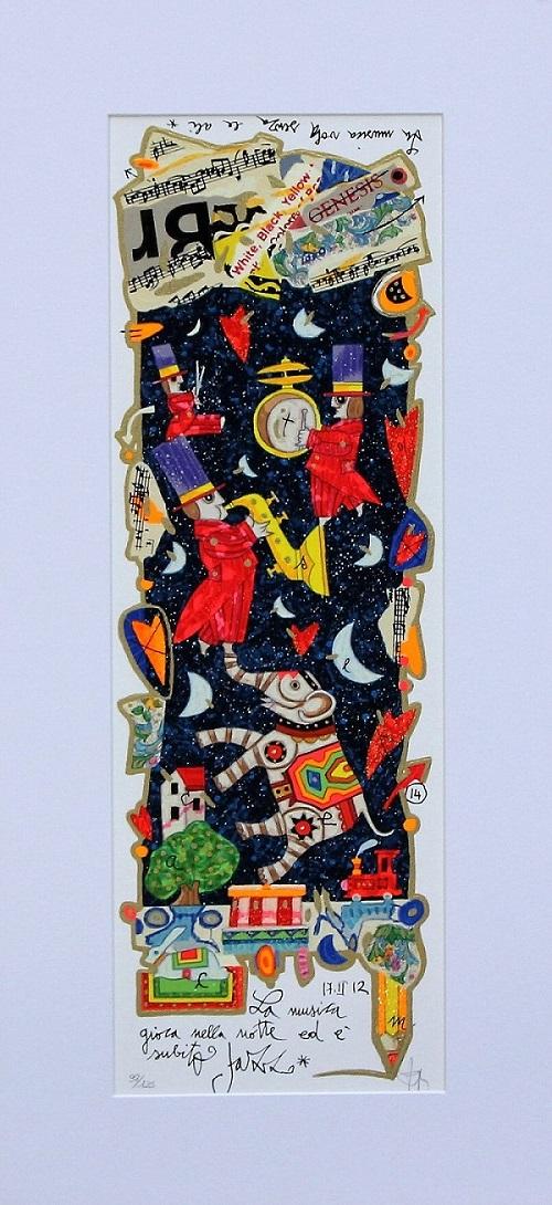 """""""La musica gioca nella notte..."""" serigrafia polimaterica con interventi in glitter cm.17x50"""
