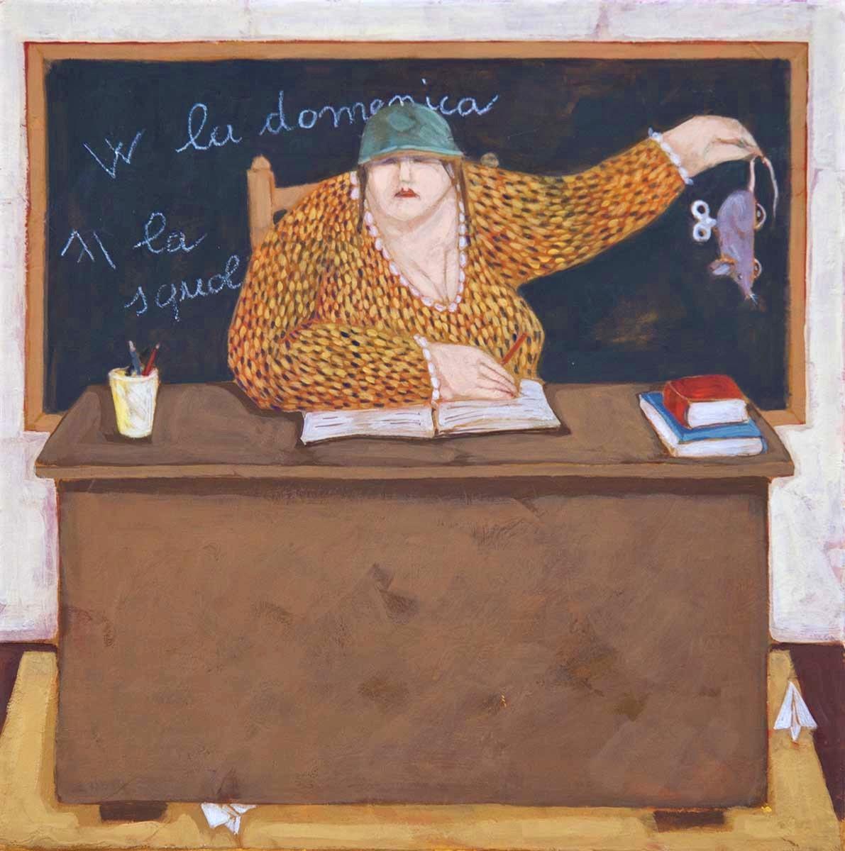 """L'insegnante"" dipinto su tela cm. 30x30"