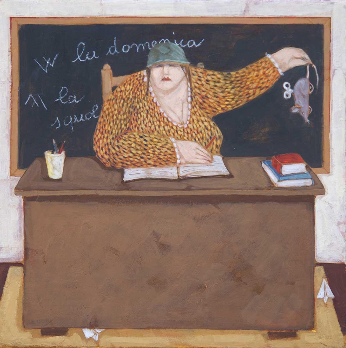 """La professoressa"" dipinto su tela cm. 30x30"