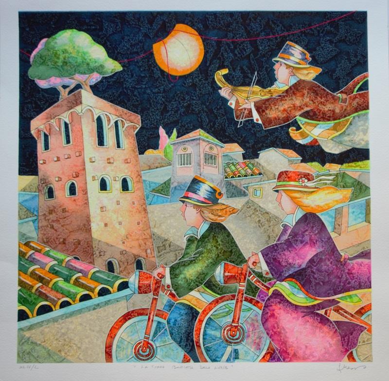 """""""La torre baciata dalla luna"""" serigrafia polimaterica cm. 50x50"""