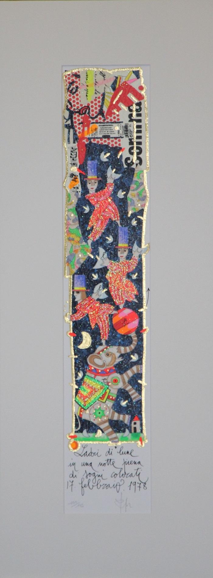 """""""Ladri di lune..."""" serigrafia polimaterica con interventi in glitter cm. 10x50"""