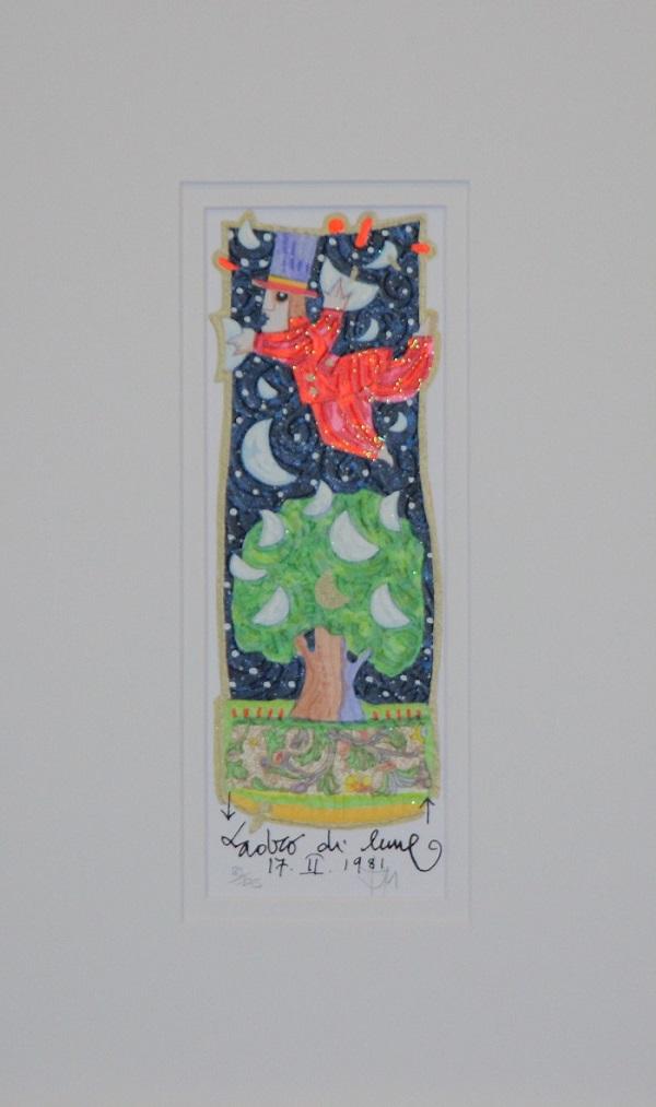 """""""Ladro di lune"""" serigrafia polimaterica con interventi in glitter cm. 25x9"""
