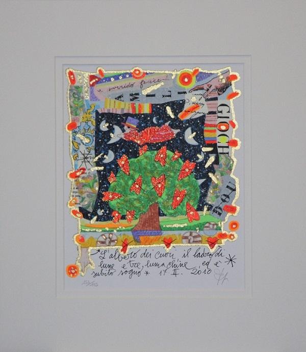 """""""L'albero dei cuori..."""" serigrafia polimaterica con interventi in glitter cm.26x21"""