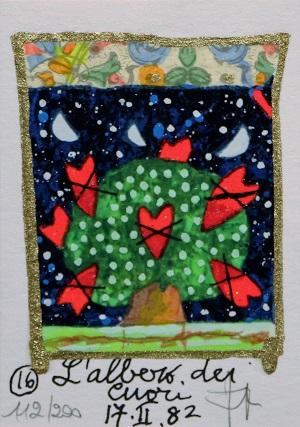"""""""L'albero dei cuori"""" serigrafia polimaterica con interventi in glitter cm.10x7"""