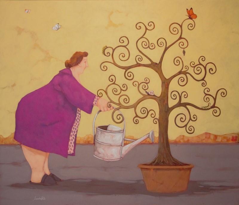 """""""L'albero della vita"""" dipinto su tela cm. 60x70"""