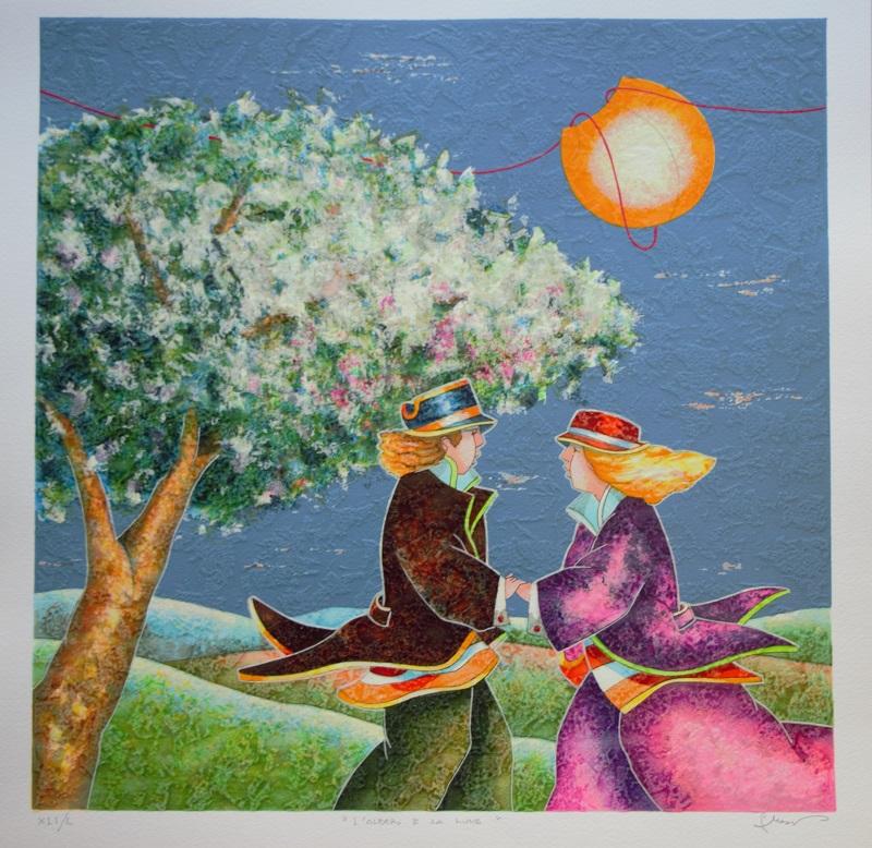"""""""L'albero e la luna"""" serigrafia polimaterica cm. 50x50"""