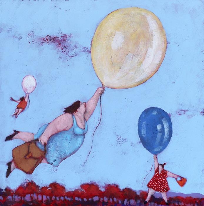 """Le casalinghe tornano a volare"" dipinto su tavola cm. 20x20"