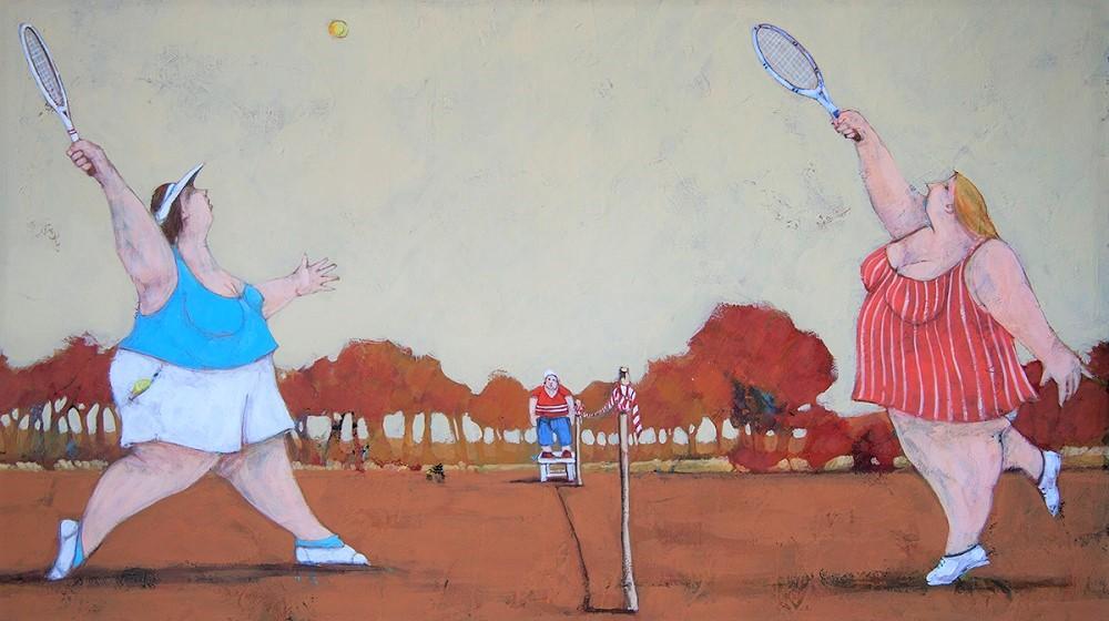 """Le tenniste"" dipnto su tela cm. 40x70"
