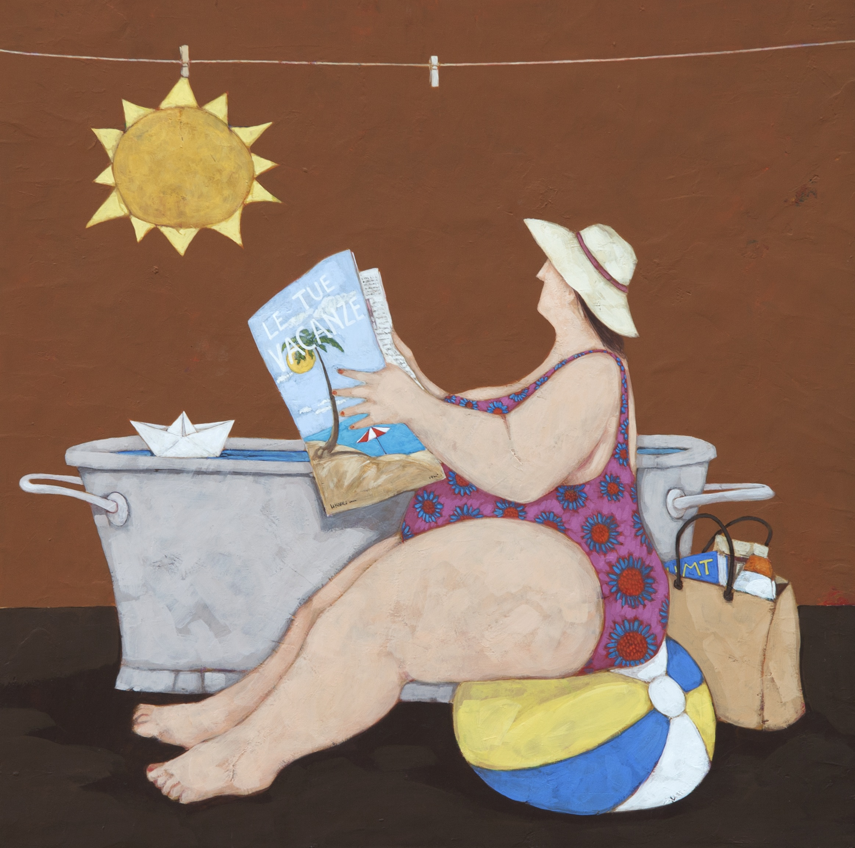 """Le tue vacanze"" dipinto su tela cm. 70x70"