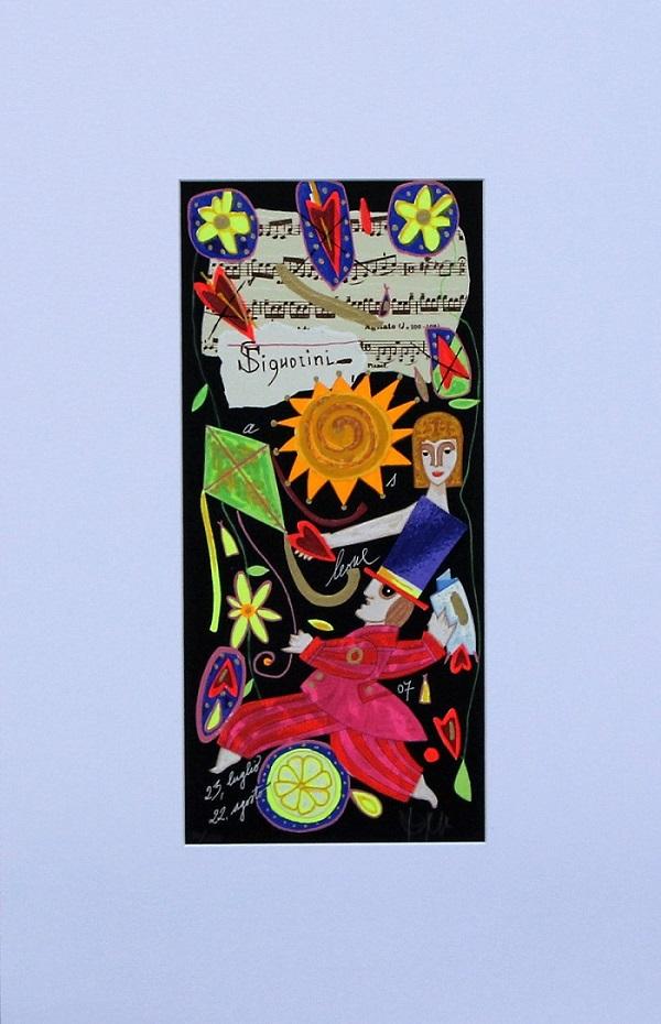 """""""Leone"""" serigrafia polimaterica con interventi in glitter cm.35x17"""