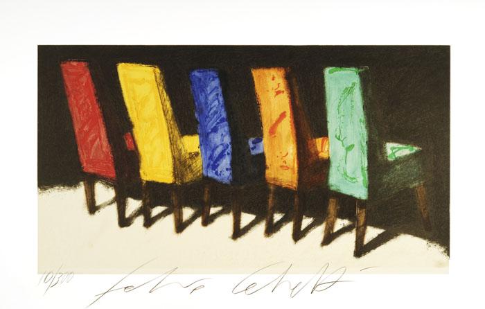 """""""Sedie"""" litografia a 29 colori cm. 60x90"""