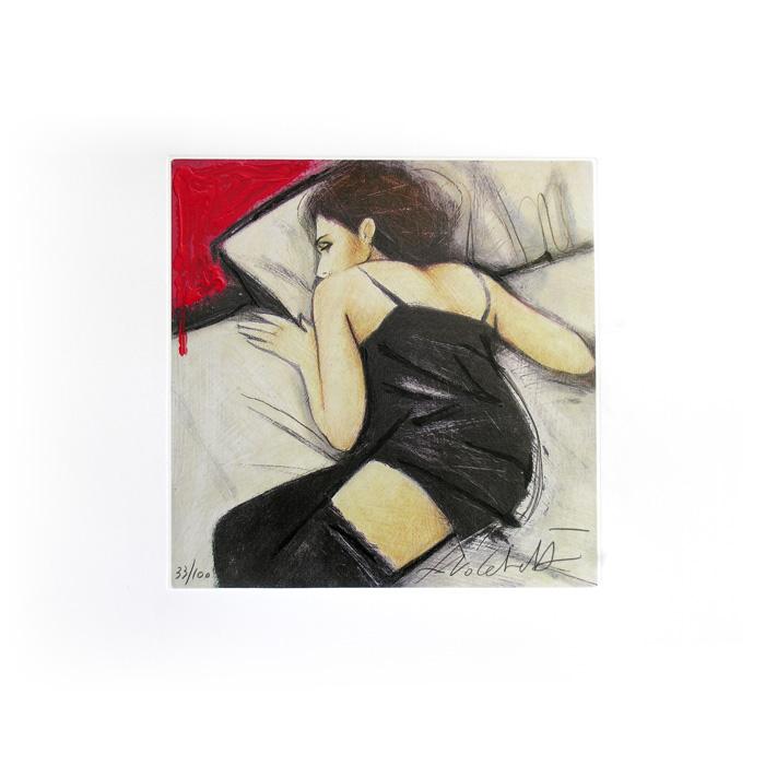 """""""Sottile desiderio"""" litografia a colori cm. 53,5x53,5"""