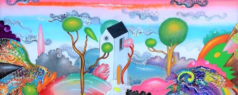 """Paesaggio"" dipinto su tela cm. 60x25"
