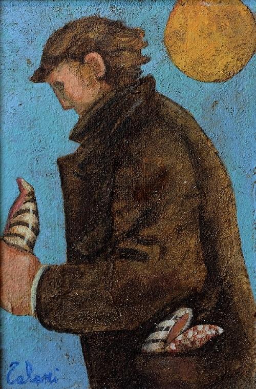 """""""L'uomo con le conchiglie"""" affresco su tavola cm. 30x20"""