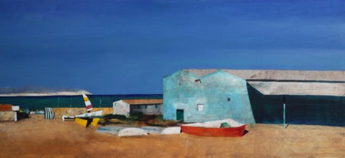 """Marina"" dipinto su tavola cm. 60x130"