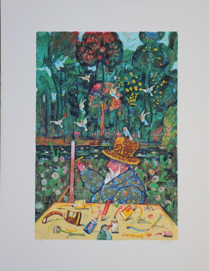 """Monet a Giverny"" serigrafia polimaterca cm. 70x90"