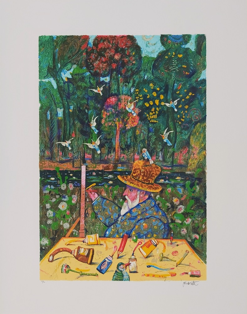 """Monet a Giverny"" serigrafia polimaterica cm. 70x90"