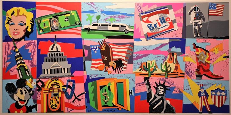 """""""American Icons""""  serigrafia polimaterica con interventi in collage, glitter, floccaggi e carborundum  cm. 72x143"""