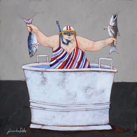 """""""Nati sotto il segno dei pesci""""  dipinto su tela cm. 30x30"""