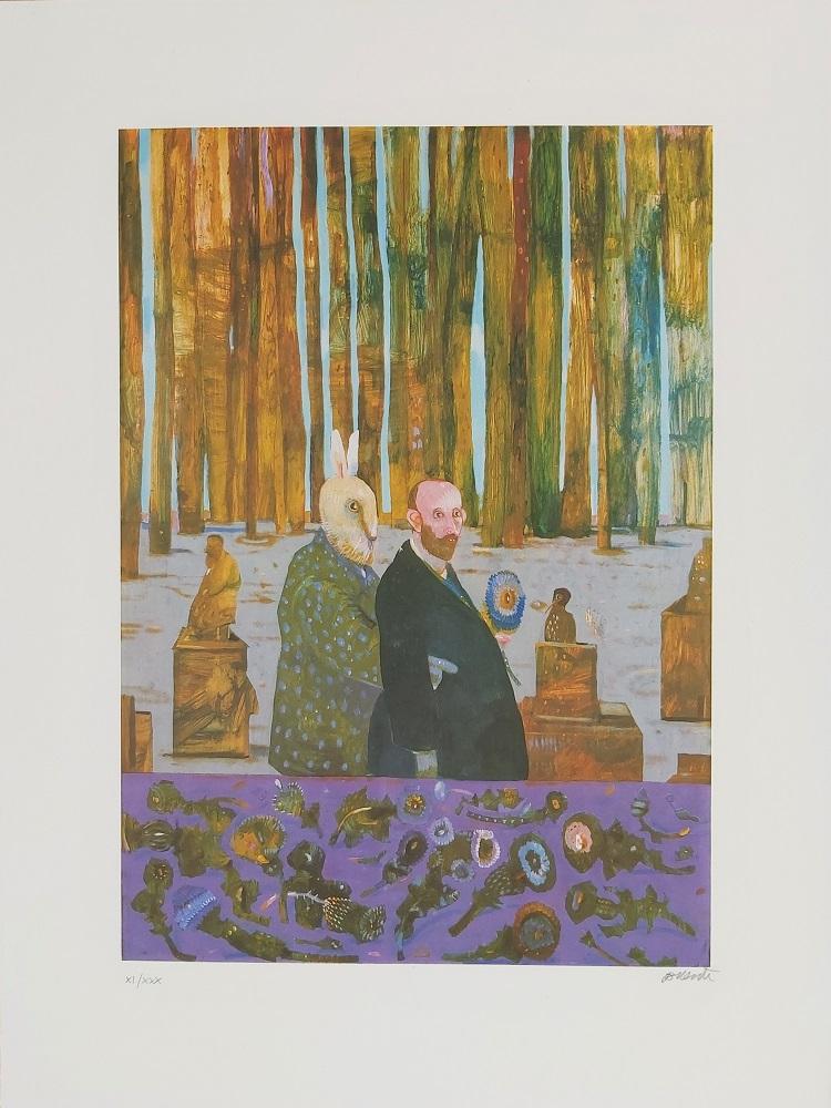 """""""Nel giardino con un barante"""" litografia cm. 80x60"""