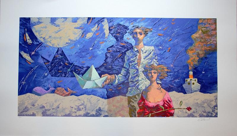 """""""Notte di San Lorenzo"""" serigrafia polimaterica cm. 70x120"""