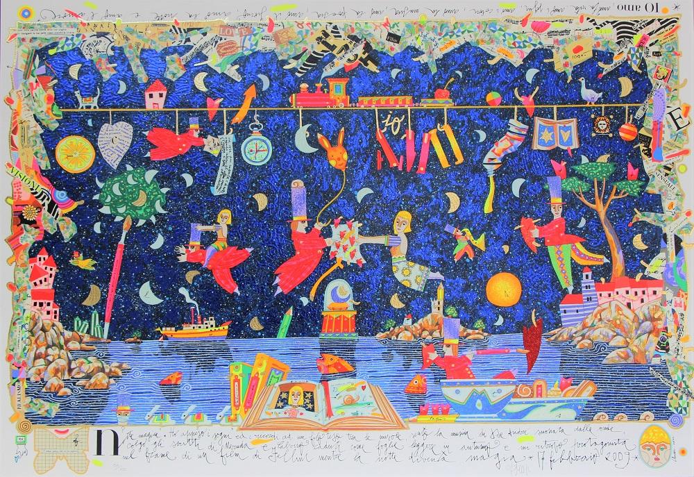 """""""Notte magica"""" serigrafia polimaterica con interventi in glitter cm. 70x100"""