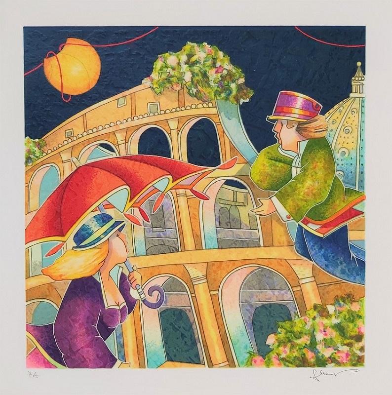 """Notte romana"" serigrafia polimaterica cm. 35x35"