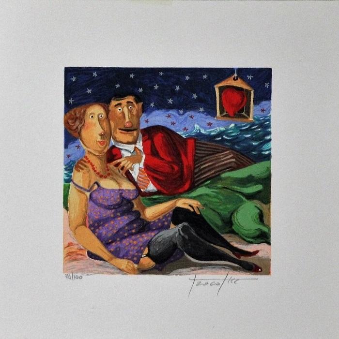 """""""Notte stellata"""" serigrafia polimaterica cm. 25x25"""