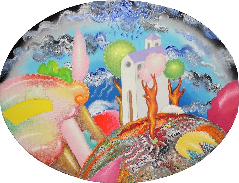 Paesaggio dipinto ovale su tela cm. 40x30,5