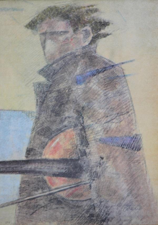 """""""Partenza di un violinista"""" litografia cm. 34x47"""